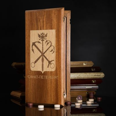 "Backgammon ""Coat Of Arms of Petersburg"" Dark Board"