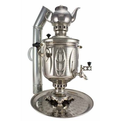 """Samovar on coal, charcoal, firewood 5 liters """"Sheet"""" in the set of """"Present"""""""