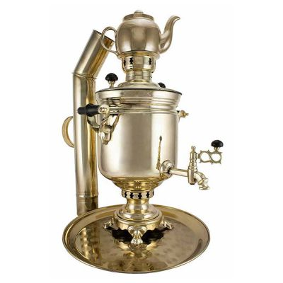 """Samovar on coal, charcoal, firewood 5 liters """"Classic"""" in the set of """"Present"""""""