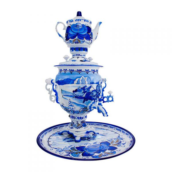 """Samovar electric 3 liters """"Tula"""" in the set """"Winter Gzhel"""" hand-painting (auto power off button)"""