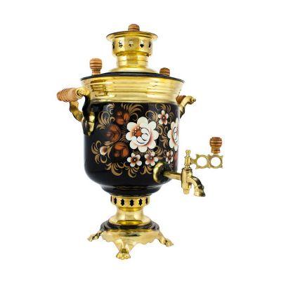 "Samovar on coal, charcoal, firewood 5 liters ""Classic"" hand-painting ""Zhostovo on gold"""
