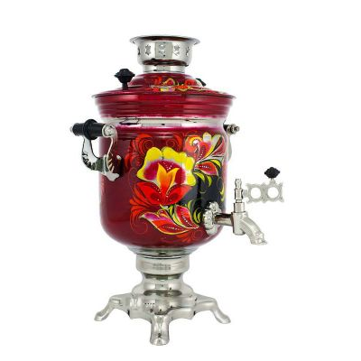 """Samovar electric 3 liters """"Bank"""" hand-painting """"Kudrin"""" (auto power off button)"""