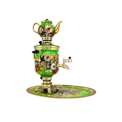 """Samovar electric 3 liters """"Bank"""" in the set """"Camomiles"""" hand-painting (auto power off button)"""