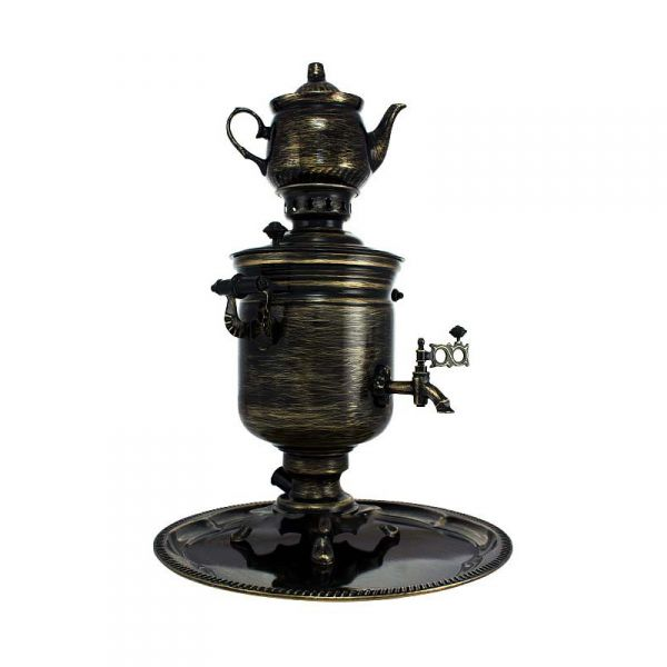"""Samovar electric 3 liters """"Bank"""" in the set """"Metelitsa"""" hand-painting (auto power off button)"""