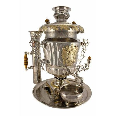 """Samovar combined (electric or coal, charcoal, firewood) 7 liters """"Russia"""" set"""""""