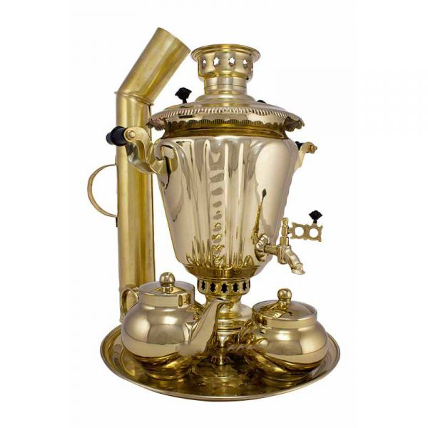 """Samovar on coal, charcoal, firewood 5 liters """"Pigtail"""" in the set """"Gift"""""""