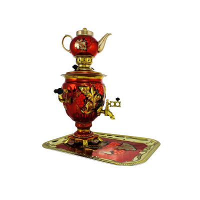 """Samovar electric 3 liters """"Bank"""" hand-painting """"Gzhel"""" (auto power off button)"""