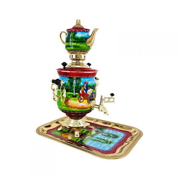 """Samovar electric 3 liters """"Bank"""" in the set of """"Summer Three"""" hand-painting (auto power off button)"""