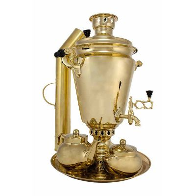 """Samovar on coal, charcoal, firewood 7 liters """"Traditional"""" in the set """"Gift"""""""