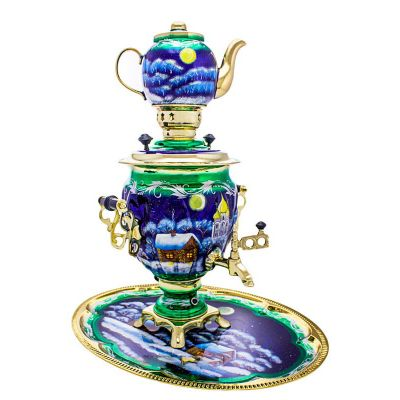 """Samovar electric 3 liters """"Tula"""" in the set """"Christmas night"""" hand-painting (auto power off button)"""