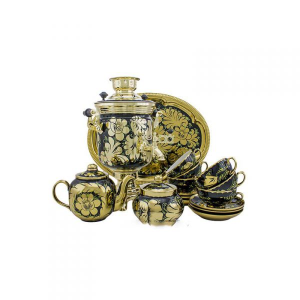 """Samovar electric 3 liters """"Bank"""" in the set for tea drinking """"Rooster on the Gold"""" hand-painting (auto power off button)"""
