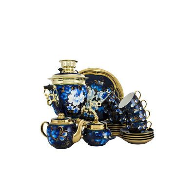 """Samovar electric 3 liters """"Tula"""" in the set for tea drinking """"Zhostovo on blue"""" hand-painting (auto power off button)"""