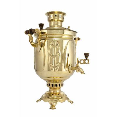 """Samovar combined (electric or coal, charcoal, firewood) 5 liters """"Gold leaf"""""""