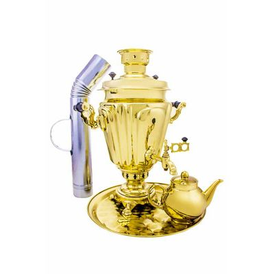 """Samovar on coal, charcoal, firewood 7 liters """"Glass with edges"""" in a set of """"Present"""""""