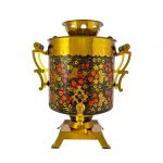 """Samovar electric 25 liters """"Tula"""" hand-painting """"Zhostovo on the Red"""" (auto power off button)"""
