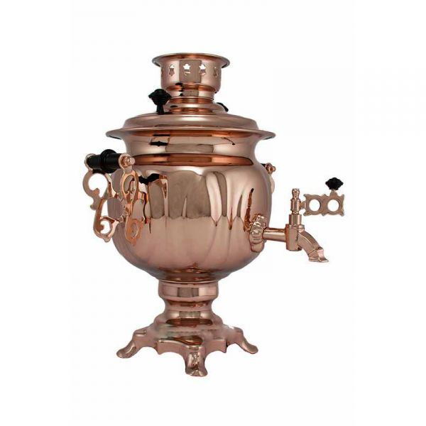 """Samovar electric 3 liters """"Round"""" copperplated (auto power off button)"""