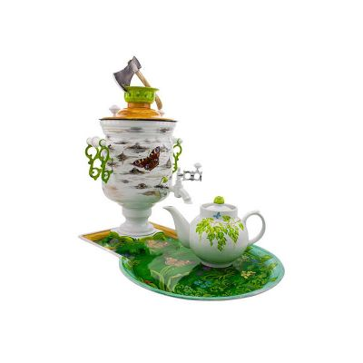 """Samovar electric 3 liters """"Bank"""" in the set """"Birch with a hatchet"""" hand-painting (auto power off button)"""