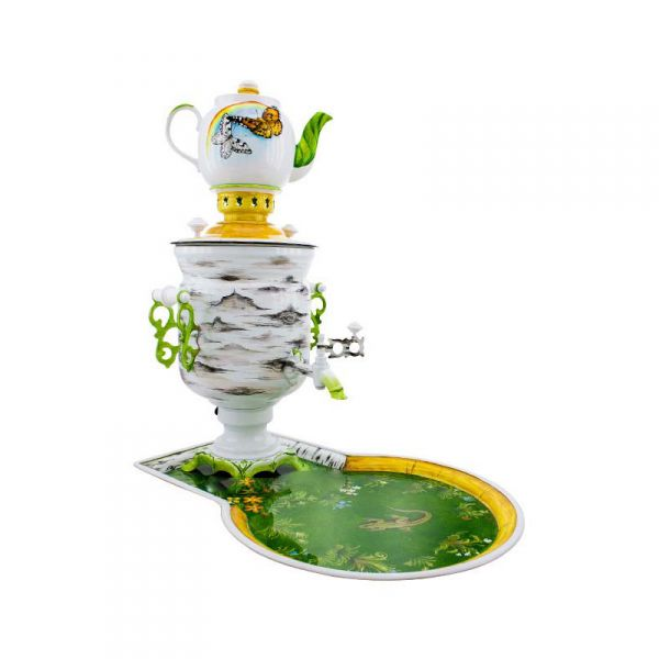 """Samovar electric 3 liters """"Bank"""" in the set """"Birch"""" hand-painting (auto power off button)"""