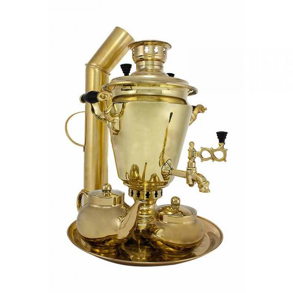 """Samovar on coal, charcoal, firewood 5 liters """"Traditional"""" in the set """"Gift"""""""