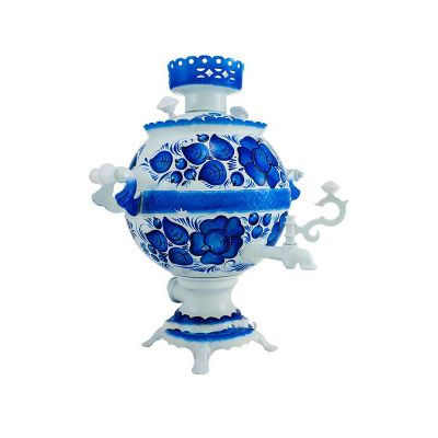 """Samovar electric 3 liters """"Ball"""" in the set """"Gzhel"""" hand-painting (no auto power off button)"""