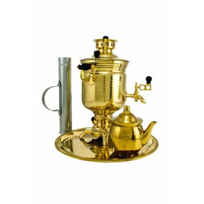"""Samovar on coal, charcoal, firewood 2.5 liters of """"Bank"""" in the set of """"Present"""""""