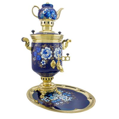 "Samovar on coal, charcoal, firewood 5 liters ""Classic"" in the set ""Zhostovo on blue"" hand-painting"