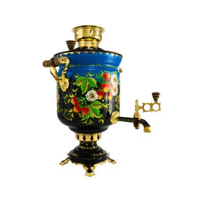 """Samovar on coal, charcoal, firewood 5 liters """"Classic"""" hand-painting """"Strawberries"""""""